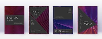 Black brochure design template set. Violet abstrac vector illustration