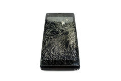 Black broken phone. Black phone sceen is broken royalty free stock photos