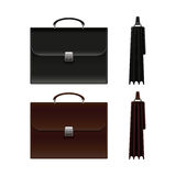 Black and Brown Business Briefcase Bag. Vector Illustration. Royalty Free Stock Images