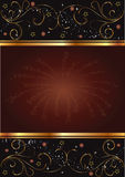 Black  and brown  card with floral gold design Stock Images