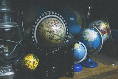 Black and Brown Desk Globe Stock Photography
