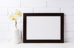 Black brown landscape frame mockup with soft yellow orchid in v. Ase. Empty frame mock up for presentation design. Template framing for modern art stock photography