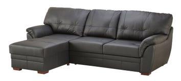 Black brown leather corner sofa Stock Image