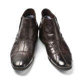 Black and brown male shoes. Isolated on white Stock Photography