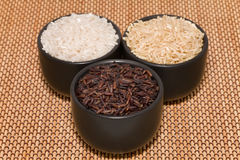 Black, brown and white rice Royalty Free Stock Photos