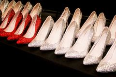 Gorgeous diamond ladies high heels for retail. Beautiful high heel ladies shoes on display for retail at a market in New York royalty free stock photography