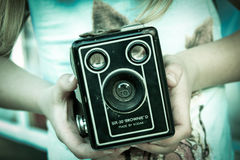 Black Brownie' D Vintage Camera in Hand Stock Images