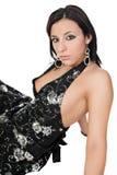 black brunette down dress sitting stunning Στοκ Φωτογραφίες