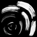Black brush stroke in the form of a circle. Drawing created in ink sketch handmade technique Royalty Free Stock Images