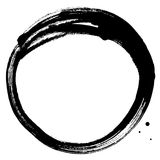 Black brush stroke in the form of a circle. Drawing created in ink sketch handmade technique.  royalty free illustration