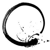 Black brush stroke in the form of a circle. Drawing created in ink sketch handmade technique. Black and white. vector illustration