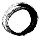 Black brush stroke in the form of a circle. Stock Photos
