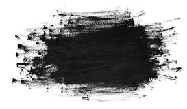 Black brush strokes on white paper. Dark abstract watercolor paint texture.  stock photography