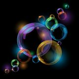 Black bubble vector background Stock Images