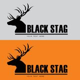 Black Buck. Black stag silhouette with beautiful horn. Combine with the text. Suitable for community identity, product identity, corporate identity vector illustration