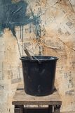 The black bucket royalty free stock photography