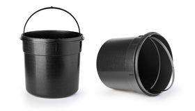 Black bucket on a white Stock Photography