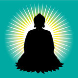 Black buddha silhouette vector illustration Stock Photos
