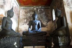 Black Buddha at wat su tat Royalty Free Stock Photography