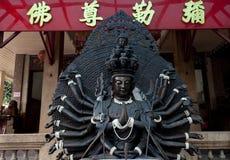 Black budha. Interesting Budha sculpture. Combination of Budha and Hindu goddess Kali with many hands Stock Photography
