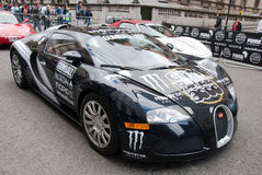 Black Bugatti Veyron Gumball 2010. Gumball Rally 1st May 2010 London Participant Black Bugatti Veyron Stock Images