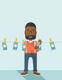 Black buisnessman hang his money Royalty Free Stock Photography