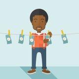 Black buisnessman hang his money Stock Photos