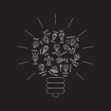 Black bulb creative lines symbol of ideas object. Royalty Free Stock Images