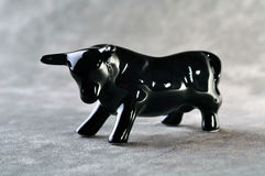 Black bull ceramic figurine Royalty Free Stock Photography