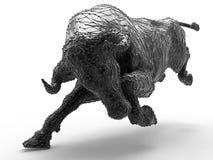 Black bull charge Stock Photo