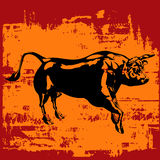 Black Bull Grunge. Background grunge illustration of a black bull stock illustration