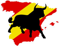 Black bull on the spanish map Stock Images