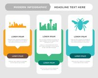 Black bumble bee, black space needle, black dallas sky infographic. Black bumble bee business infographic template, the concept is option step with full color Stock Photos