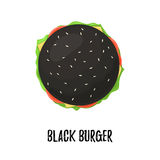 Black Burger with Cheese top view. Cheeseburger on bun black isolated on white background. Vector illustration for web design or print brochure Stock Images