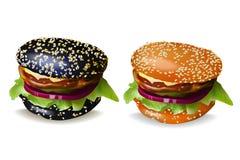 Black Burger and Cheeseburger Vector Illustration Royalty Free Stock Photo