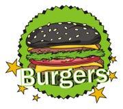 Black burger and green sign Royalty Free Stock Image