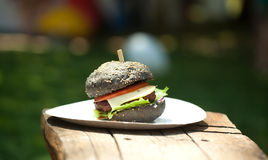 Black burger Royalty Free Stock Images