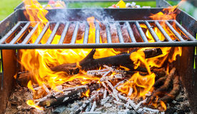 black burned charcoal bbq grid fire natural background Royalty Free Stock Photography