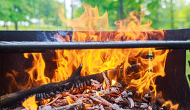 black burned charcoal bbq grid fire natural background Royalty Free Stock Photos