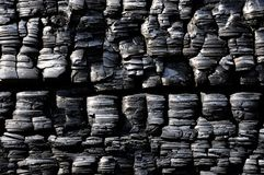 Black burnt timber. Texture of black burnt timber Royalty Free Stock Images