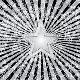 Black burst silver star. Silver star on black and white grunge burst background Royalty Free Stock Photography