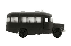 The black bus. Model of the black bus on a white background Royalty Free Stock Photography