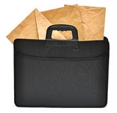 Black business briefcase with envelopes Stock Images