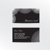 Black business card decorated white lacework Stock Image