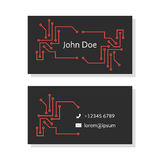 Black business card with pcb elements Stock Images