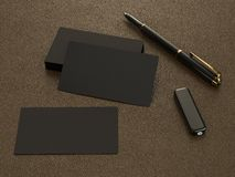Black business cards blank mockup on leather background. High resolution Royalty Free Stock Photos
