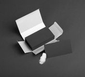 Black business cards in the silvery box. Royalty Free Stock Image