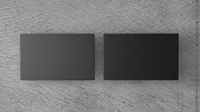 Black business cards on white background. mockup for branding. 3d render Stock Image