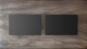 Black business cards on wood background. mockup for branding. 3d render Stock Photo