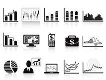 Black business charts icon. Some business charts icon set for business reports Royalty Free Stock Images